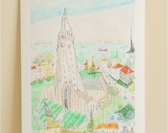 REYKJAVIK ICELAND PRINT Hallgrimskirkja Reykjavik Church Art, Signed Giclée Print, Watercolour Painting, Clare Caulfield, Icelandic Wall Art