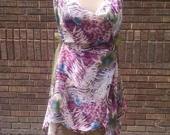 Fairy dress, multi tropical print. Sheer with open back & handkerchief hem