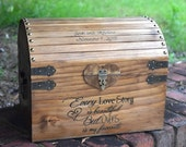 Every Love Story is Beautiful Rustic Wooden Card Box - Lockable with Card Slit - Wedding Card Box - Rustic Wedding Card Box - Program Box