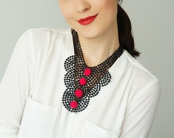 30% Inspiration Venise Lace Necklace Lace Jewelry Black Necklace Bib Necklace Statement Necklace Pompom Necklace / CINCINELLA
