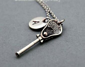 Lacrosse charm necklace, Lacrosse stick necklace, antique silver, initial necklace, personalized, monogram