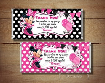 Set of 2 Minnie Mouse Candy Bar Wrappers, Pink Polka Dot Minnie Mouse Candy Wrapper, Printable Birthday Candy Wrappers, First Second 1st 2nd