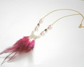 Pink Feather Necklace - Bohemian Necklaces - Czech Glass Jewelry - Fuchsia Pink Jewlery - Long Necklace - Bohemian Weddings - Gift For her