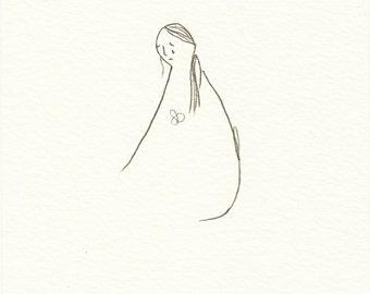 dibujo a lápiz ORIGINAL arte ilustración postal tristeza perdida mujer