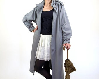 Grey trench coat, women vintage coat, raincoat, 36, S/M, 80s