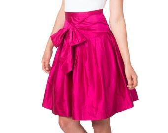 SALE - Pink Skirt, Magenta, Full Skirt, Silk Skirt, Pleats, Bow, High Waist, Dupioni Silk, Shantung Silk, Knee Length, Fuchsia, Raspberry