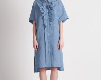 40% Season Off_Blue Moon Linen Loose Fitting Shirts Dress_Indigo Blue