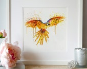 Flying parrot Watercolor painting Wall decor Bird art Splashes Parrot wall art Printable art Parrot poster Birds Illustrations Aquarelle