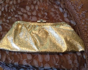 1960s Vintage Purse Gold Lamae Clutch Evening Bag