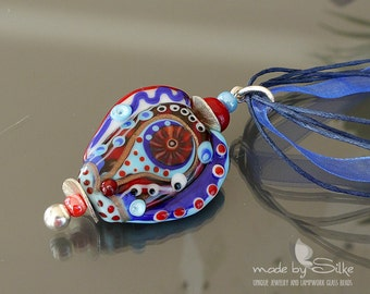 Lampwork bead pendant   |  made by silke  |  art glass |  Red Meets Blue