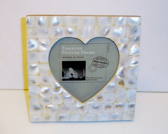 World Market Mother of Pearl Heart-Shaped Photo Frame-Made in India