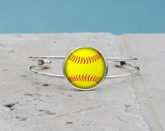 Softball Adjustable Cuff Bangle, Softball Bracelet, Softball Jewelry, Softball Accessories, Personalized Softball Gift, Monogram Softball