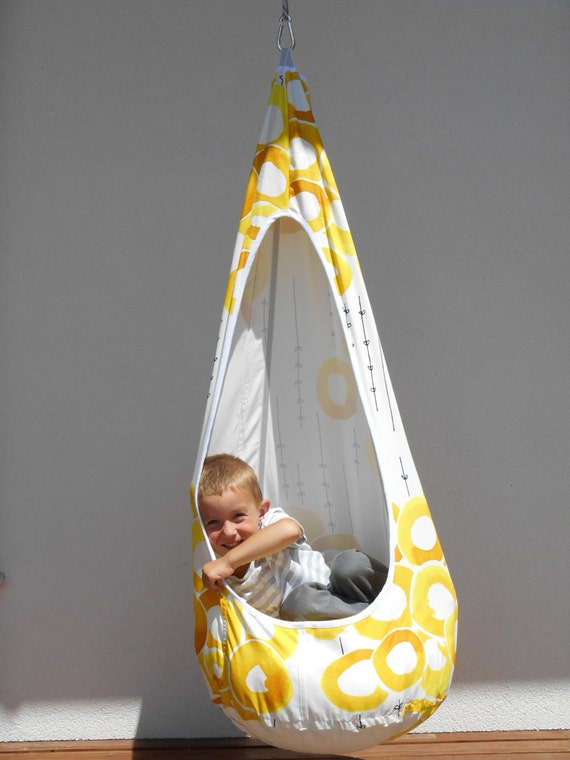 On sale 30 off yellow white swinghandmade hammock by for Unique swings for kids