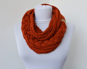 Brick Scarf - Infinity Jersey Scarf - Partially braided Circle Scarf - Scarf Nekclace