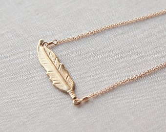 Feather Necklace Gold, Gold Feather Necklace, Bar Gold Necklace, Gold Necklace Bar, Feather Gold Necklace, Gold Necklace Feather