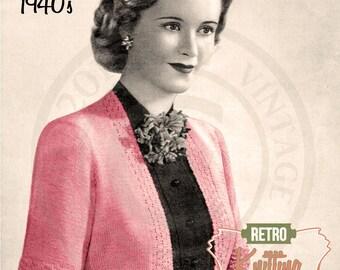 1940s Bolero Knitting Pattern - PDF Knitting Pattern - PDF Instant Download