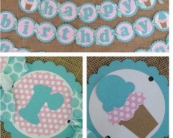 Ice Cream Birthday Banner, Ice Cream Party Banner, Ice Cream Banner, Ice Cream Party Decorations, Ice Cream Banner, Ice Cream Birthday