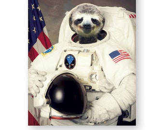 "Sloth Astronaut Astrosloth Art Print Anthropomorphic Photography Fun Gif, Mixed Media Collage Art (3 Sizes) ""Bob 'Mellow' Spacey"""