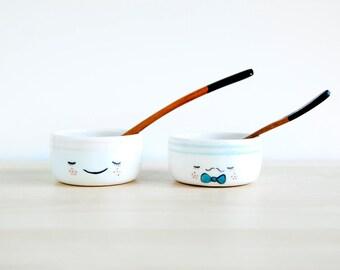 Small ceramic bowls for serving - Scandinavian pottery bowl set - Ceramics & pottery - Mini sauce bowls - Kawaii ceramic tableware - Viruset