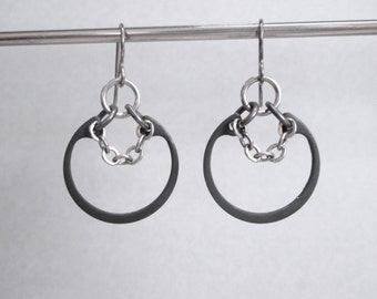 Chain Earrings, Industrial Earrings, Black Hoop Earrings, Hardware Jewelry, Heavy Metal Jewelry, Hypoallergenic Earrings, Edgy Jewelry