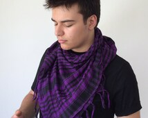 Checkered Square Purple Scarf, Men's Scarf, Plaid Cotton Scarf, Tassel Scarf, Gifts For Him, For Husbands, For Boyfriends, Unisex Scarf