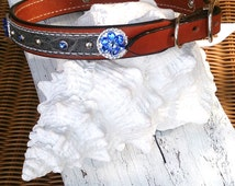 Blue Crystal Concho Dog Collar, LEATHER COLLAR, Pet CoLLar, Exotic Hide, 24 inch Collar