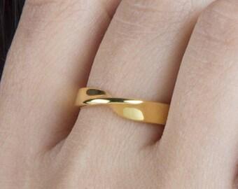 Mobius ring, 9k Mobius ring, SOLID GOLD mobius ring, 14k mobius ring, Mobius band, Rose mobius ring, Wedding ring,Width 4,5mm