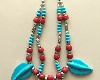 Vintage Boho Chic Necklace - Sleeping Beauty Turquoise and Coral, Leaf Motif Double Necklace - Statement Necklace