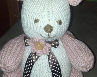 Hand Knit Teddy Bears - two tone
