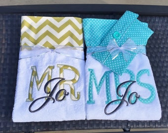 Mr. and Mrs. Custom Embroidered Beach Towels, Lounge Chair Towels, or Beach Blankets