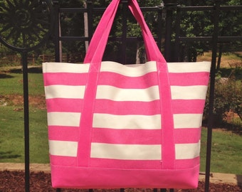 ON SALE!!! Large Pink and White Canvas Tote Bag