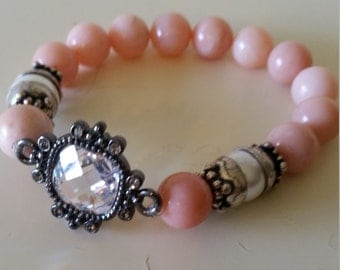 Peruvian Pink Opal Bracelet, fresh water pearl, antiqued sterling silver, facited crystal, stretchy bracelet.