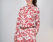 SUPER SALE-Organic Cotton Shirt Red Flowers long sleeves GOTS Certified Low Impact Dye Print