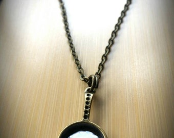 Fried Egg in Frying Pan Necklace - on bronze link chain