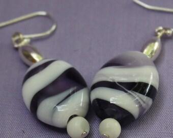 Purple and White Dangle Lampwork Earrings - Drop Earrings - Lampwork Earrings - Modern Earrings