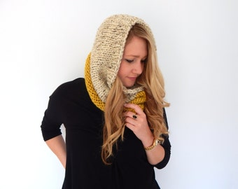 Chunky Knit Cowl - Knit Scarf - Knit Neck Warmer - Snood - Color Block Cowl - Citron and Oatmeal Soft Wool Blend
