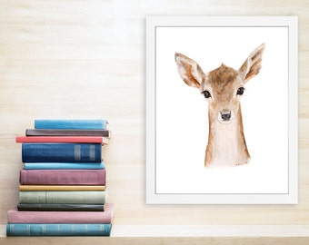 Deer Art, Baby Deer, Deer Painting, Fawn, Deer Watercolor, Nursery Art, Animal Art, Wildlife Print, Animal Portrait, Woodland - 11x14