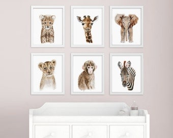African Baby Animal, Nursery Print Set, Safari Nursery Art Prints, Animal Art, Baby Elephant, Giraffe, Monkey, Cheetah, Lion, Zebra
