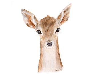 Woodland Nursery Art, Deer Art Print, Fawn Art, Baby Deer, Deer Nursery Art, Woodland Art Print, Watercolor, Bambi, Forest Nursery - 8.5x11