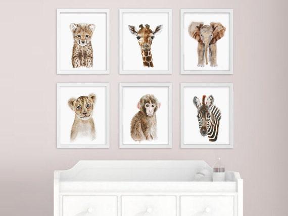 African Baby Animal Nursery Print Set Safari Nursery Art
