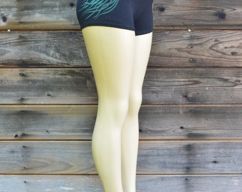 Glow in the Dark Psychedelic Jellyfish Yoga Shorts - Yoga Clothing - Women's festival Shorts - Sacred Geometry Shorts - Black Yoga Shorts