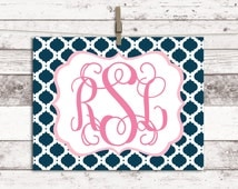 College dorm decorations girls - custom monogram art print - personalized teen girl room decor - navy and pink college dorm girl