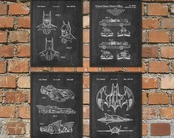 Batman Patent Prints Set Of 4 - Batman Poster - Batmobile Print - Batwing Poster - Batman Mask Patent - Batman Superhero Movie Posters