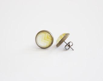 Yellow Ombre Stud Earrings