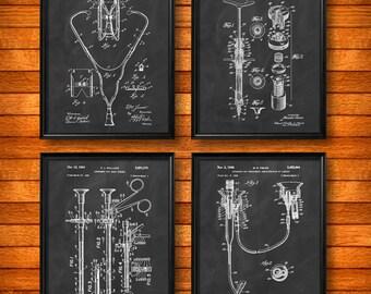 SET of 4 MEDICAL Posters, Vintage Patent Illustration, Art Print, Canvas, Wall Art, Home Decor, Medical, Physician Nurse Doctor - s387