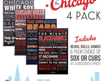 Chicago 4 Pack! Blackhawks - Bulls - Bears - Sox or Cubs - Canvases or Posters