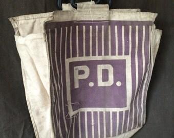 Vintage Screenprinted Canvas Tarp Bag