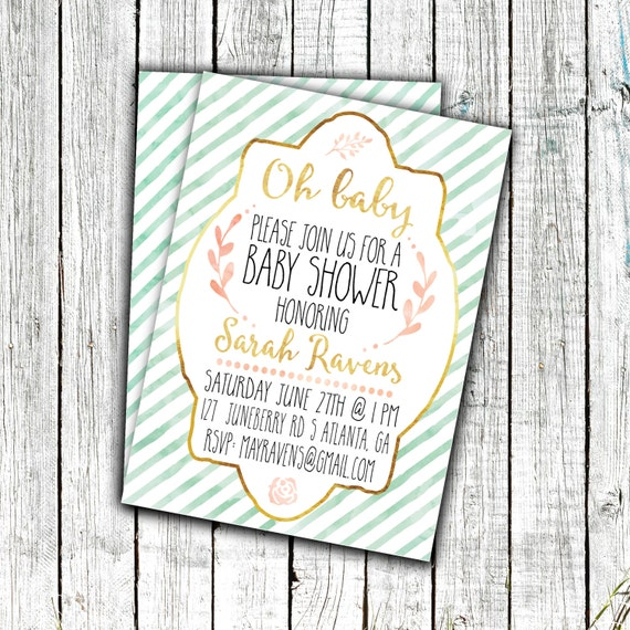 Baby Shower Invitation, Printable Invitation, Gender Neutral, Mint Gold and Pink, Digital File, 5x7 or 4x6 #2