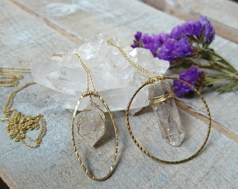 CRYSTALLIZED CIRCLE & OVAL - handmade wired crystal quartz necklace