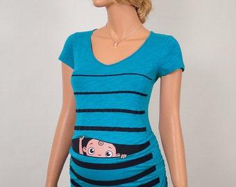 Maternity, Maternity clothes, Maternity Clothing, Maternity Shirt, Baby Pregnancy MATERNITY Shirt, Peekaboo, Peek a boo, Baby Peeking BLUE